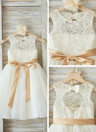 A-line Scoop Lace and Tulle Flower Girl Dresses