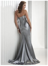 Mermaid Strapless Satin Floor Length Prom Dress With Train
