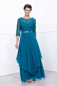 Lace & Chiffon Blue Mother Dress