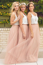 Two-Piece Simple V-Neck Sleeveless Tulle Ruched A-Line Long Bridesmaid Dress