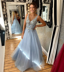 A-Line V-neck Backless Floor-Length Chiffon Prom Dresses With Flowers & Sequins