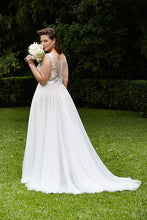 A-line Long Chiffon Plus Size Wedding Dress