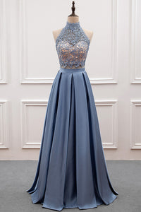 A-line/Princess Lace & Satin Halter Cut-out Back Prom Dress