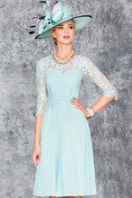1/2 Sleeve A-Line Scoop Neck Knee Length Chiffon Lace Mother of the Bride Dress