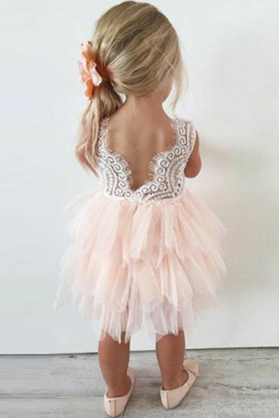 Cute Lace Tutu Knee-length Flower Girls Dresses