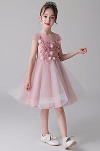 Cap Sleeves Tulle Flower Girl Dresses