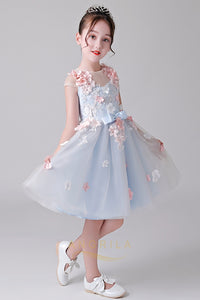 A-Line Cap Sleeves Tulle Flower Girl Dresses