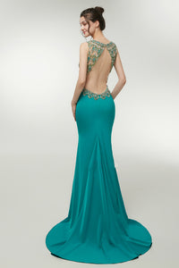 Sexy Mermaid Satin Backless V-Neck Prom Dress with Crystal