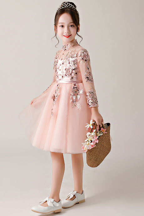 High Neck Embroidery Flower Girl Dresses with Sleeves