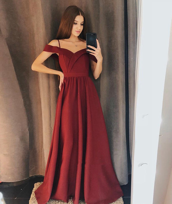 Burgundy A-Line Off-the-Shoulder Floor Length Sweetheart Satin Evening Dress