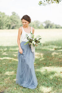 Simple V-Neck Sleeveless Tulle Ruched A-Line Long Bridesmaid Dress