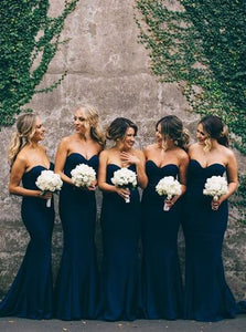 Elegant Strapless Trumpet/Mermaid Sweetheart Long Bridesmaid Dresses