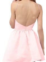 Simple A-line Scoop Neck Satin Backless Prom Dresses