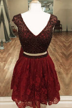 Two Piece Beading Bodice Homecoming Dresses with Lace Skirt