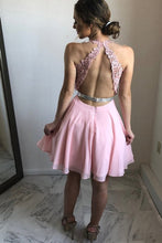 A-Line V-Neck Open Back Chiffon Homecoming Dress with Appliques