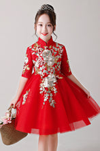 Red Embroidery Knee-Length Flower Girl Dress