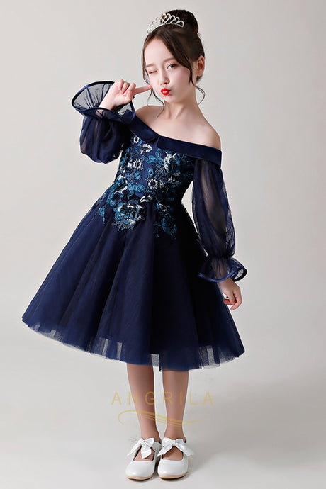 Chic Dark Navy Strapless Flower Girl Dresses