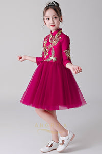 High Neck Flower Girl Dresses with Embroidery