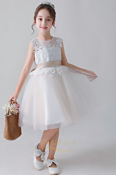Cute Jewel Flower Girl Dresses with Lace Applique