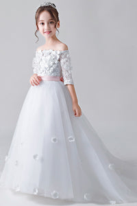 Colored Strapless Flower Girl Dresses with Sleeves