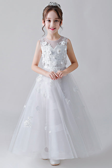 A-Line Jewel Neckline Flower Girl Dresses