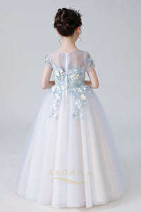 Colored V-Neck Neckline Flower Girl Dresses