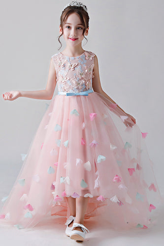 Cute High-Low Jewel Neckline Flower Girl Dresses