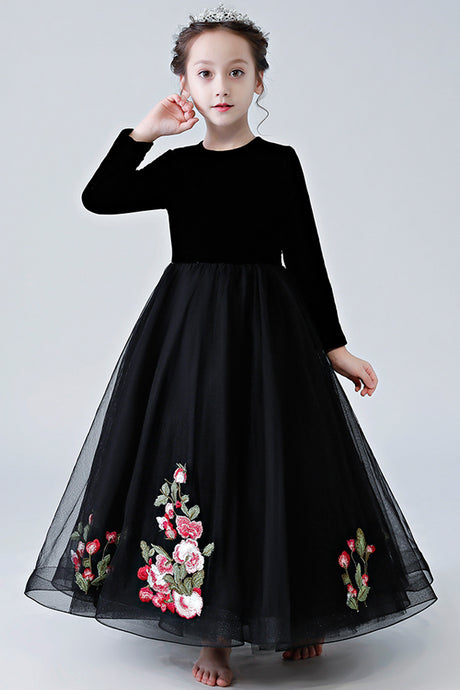 Black Floor-Length Flower Girl Dresses with Long Sleeves