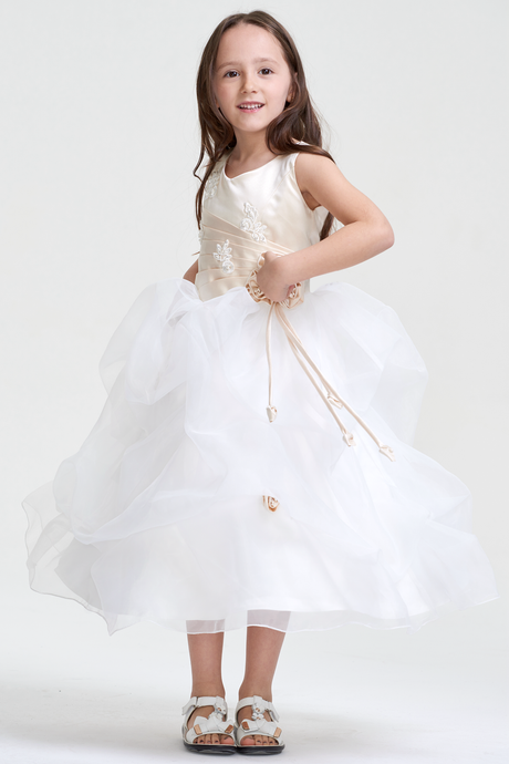 1046dc71eee Colored Scoop Neck Flower Girl Dresses with Handmade Flowers