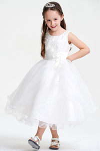 Colored A-line/Princess Scoop Neck Sleeveless Flower Girl Dresses