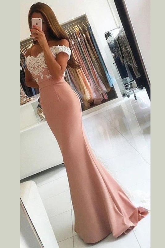 Trumpet Appliques Off-the-Shoulder Sweep Train Long Prom Dress
