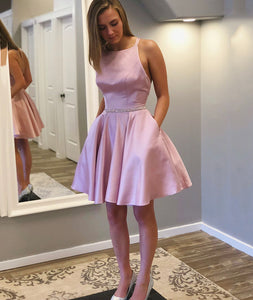 Short Pink Backless Scoop Neck Satin Dress With Waist Sequin Band