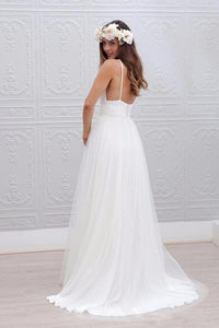 Spaghetti Straps Ruched Tulle Beach Wedding Dress