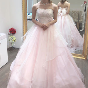 Strapless Sweetheart Floor Length Chiffon Ball Wedding Dress With Back Bow