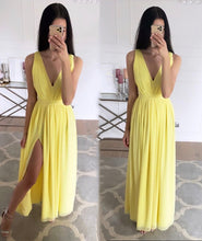 A-Line V-neck Floor Length Back Strap Design Chiffon Evening Dress With Split Front
