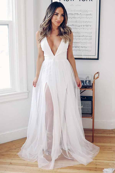 A-Line Deep V-Neck Criss Cross Back Wedding Dresses
