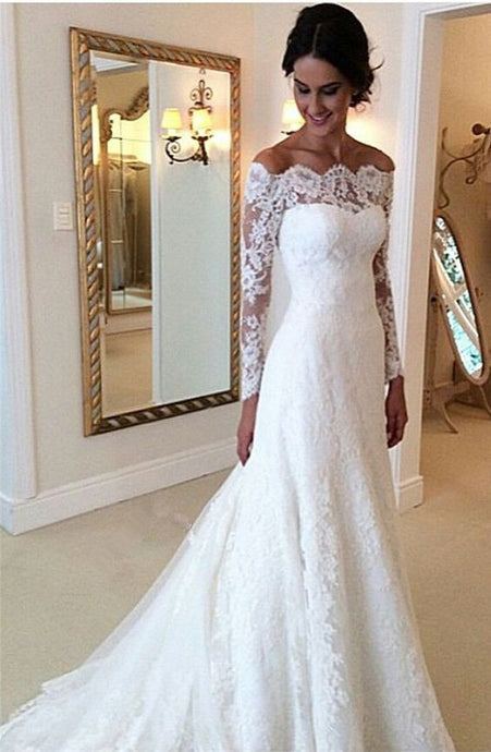 cf31ad1830e A-line Princess Off-the-shoulder Full Long Sleeves Lace Bridal