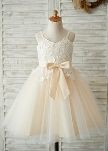 Tulle Straps Flower Girl Dress