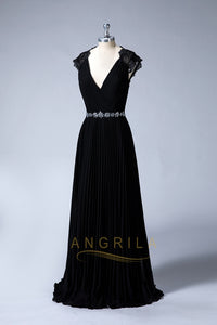 Black V-Neck Elegant Evening Dresses