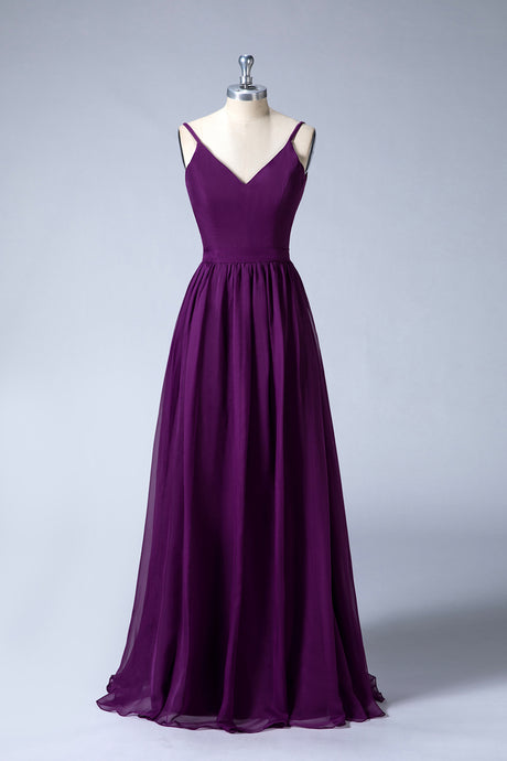 V-Neck Spaghetti Straps Bridesmaid Dresses
