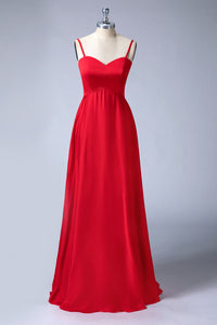 Spaghetti Straps Sweetheart Long Bridesmaid Dresses