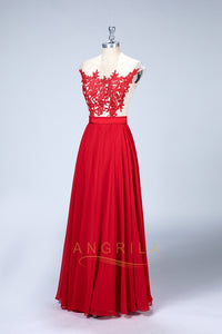 Illusion Applique A-Line Bridesmaid Dresses