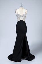 Spaghetti Straps Beading Evening Dresses with Slit