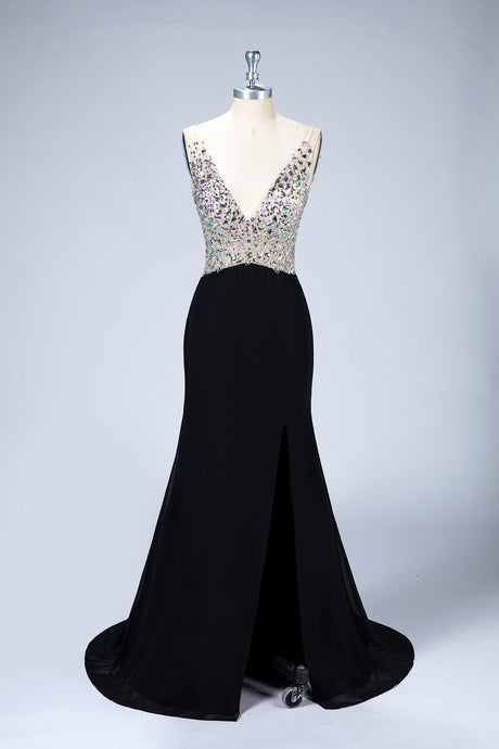 Deep V-Neck Sleeveless Prom Dresses