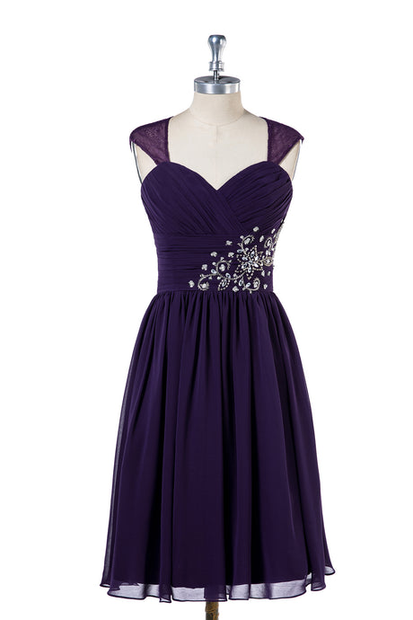 Sweetheart Open Back Knee-Length Bridesmaid Dresses