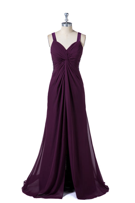 Shoulder Straps Bridesmaid Dresses with Split