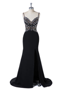 Sweetheart Mermaid Black Beading Evening Dresses