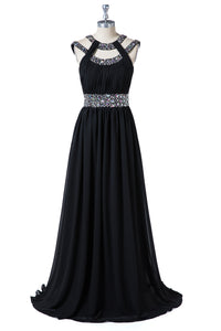 Black Beading A-Line Formal Dresses