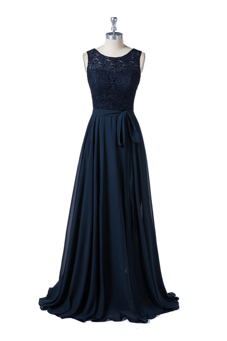 Dark Navy Lace and Chiffon Sleeveless Bridesmaid Dresses