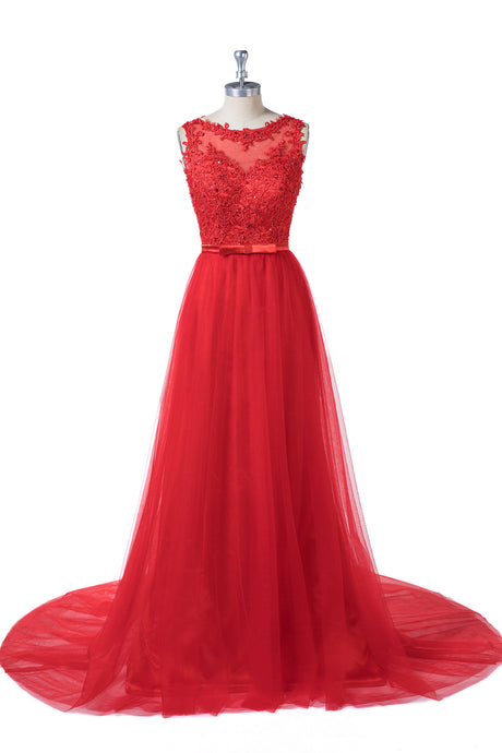 Red Sleeveless Prom Dresses with Beads